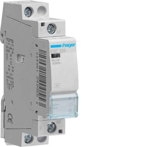 Hager- Contactor 1P, 25A, 230V, 1ND
