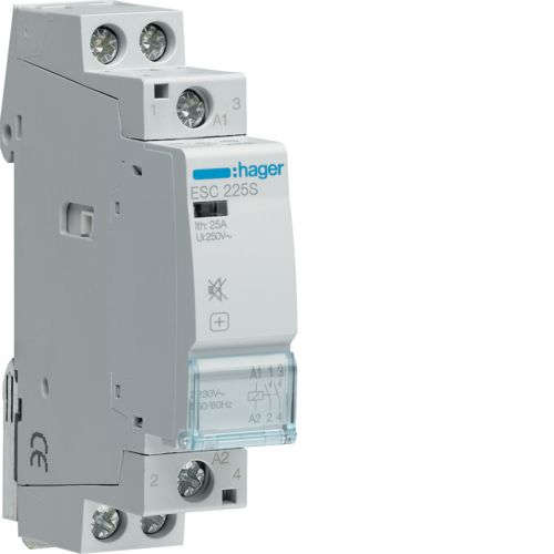 Hager- Contactor 2P, 25A, 230V, 2ND, Silentios