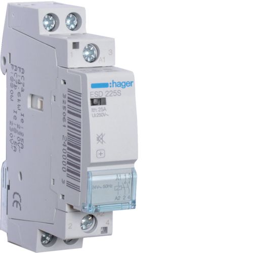 Hager- Contactor 2P, 25A,  24V, 2ND, Silentios