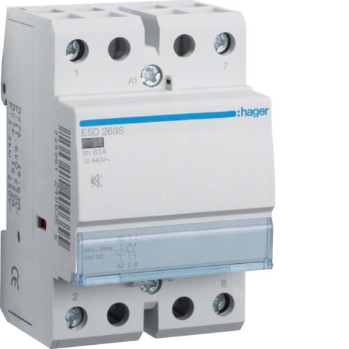 Hager- Contactor 2P, 63A,  24V, 2ND, Silentios