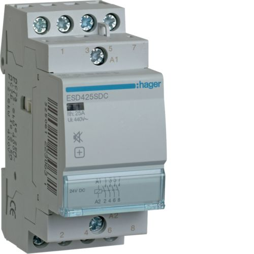 Hager- Contactor 4P, 25A,  24V DC, 2ND, Silentios