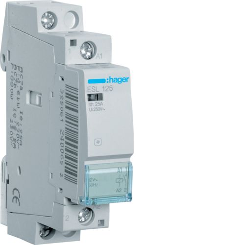 Hager- Contactor 1P, 25A,  12V, 1ND