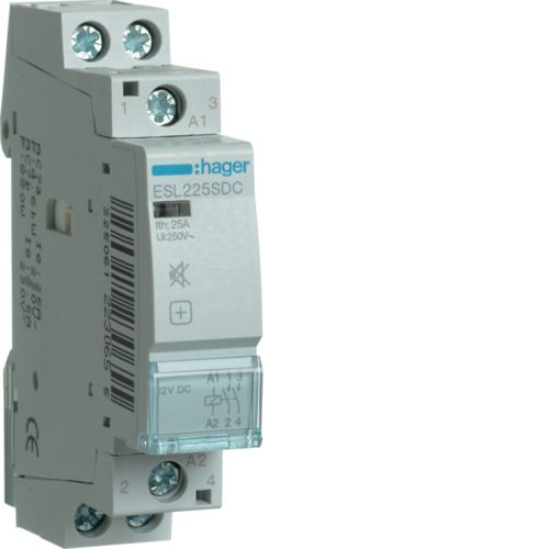 Hager- Contactor 2P, 25A,  12V DC, 2ND, Silentios