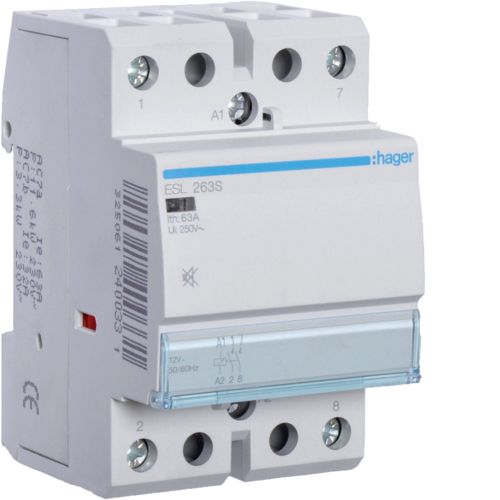 Hager- Contactor 2P, 63A,  12V, 2ND, Silentios