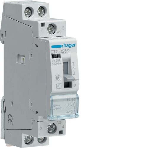 Hager- Contactor 2P, 25A, 230V, 2ND, zi/noapte, Silentios