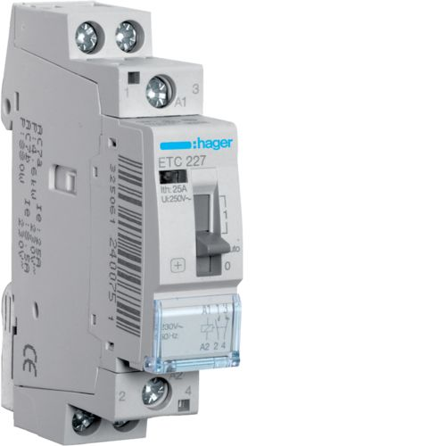 Hager- Contactor 2P, 25A, 230V, 1ND+1NI, zi/noapte